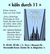 Köln durch 11 - die nächste Lesung findet im Belgischen Viertel statt.